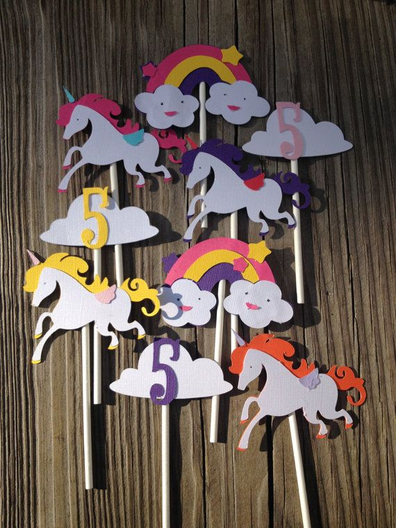12 Unicorn Cupcake ToppersRainbowsClouds by MiaSophias on Etsy