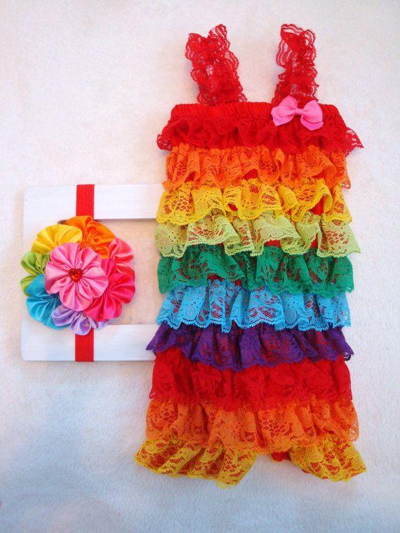 Rainbow Outfit-Lace Petti Romper & Headband SET-Baby Girl-Preemie-Newborn-Infant-Child-Toddler-Birthday Cake Smash-Clothing-Dress Up-Vintage on Etsy, $24.95