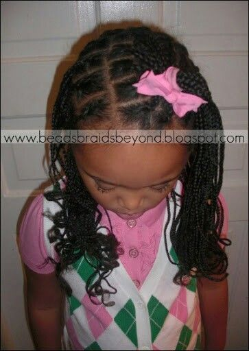 LITTLE GIRL HAIRSTYLES / BRAIDS / PROTECTIVE HAIRSTYLE / HAIRSTYLES / KIDS / BOW  / CORNROLLS / HAIRDO / UPDO / GIRL / CURLS / ROLL THE ENDS OF BRAIDS WITH ROLLERS