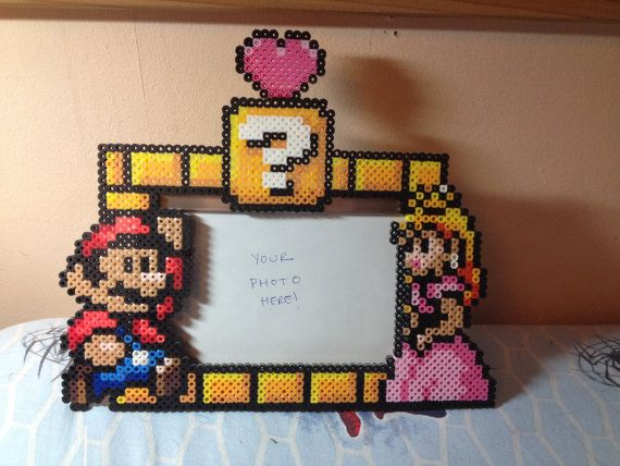 Mario Perler Bead Picture Frame by CowsEatRainbows on Etsy