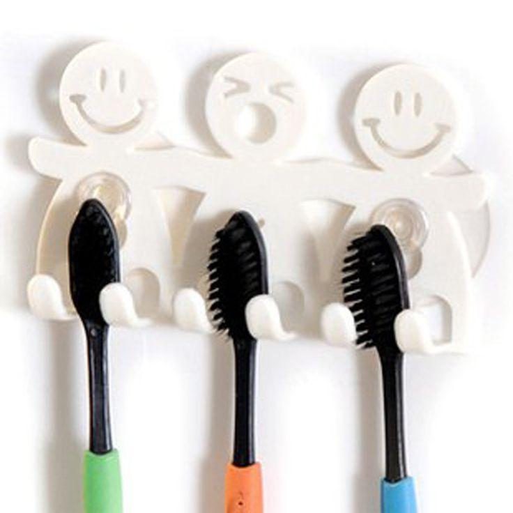 浴室セットかわいい漫画吸盤歯ブラシホルダー/吸引フック5位置歯ブラシホルダーL4A27