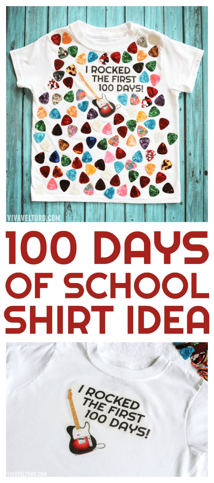 The first 100 days of school is a big deal! Here's a fun 100 days of school shirt idea so your child can celebrate like the rock star they are! #DIY #tshirt #100dayproject