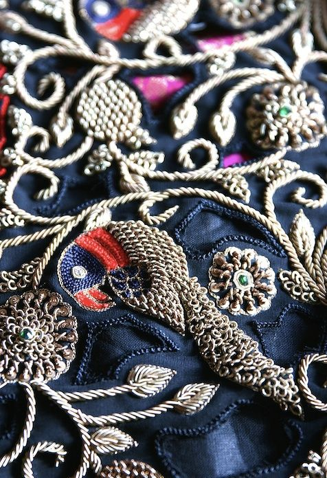The art of 'zardosi' - some of the pictures didn't make it into the magazine but are too pretty not to share! Can you spot the gold, red and navy blue-black parrots? The zardosi looks and feels like a work of sculptural relief.