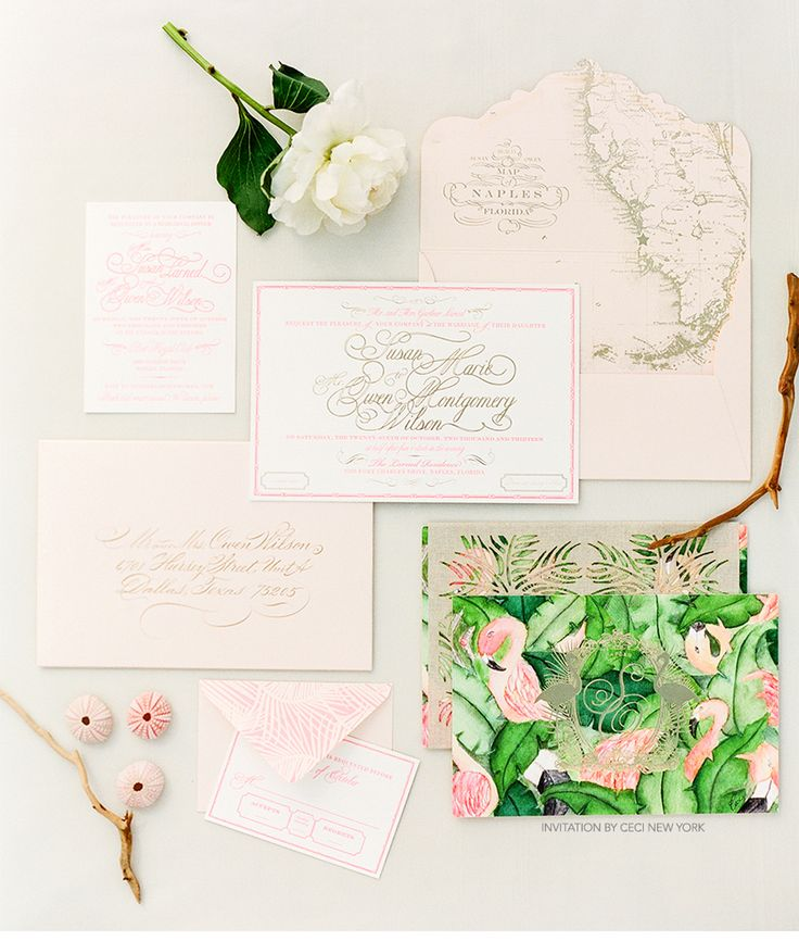 Luxury Wedding Invitations by Ceci New York - Our Muse - Green and Pink Wedding - Be inspired by Susan and Owen's green-and-pink wedding in Naples, Florida - ceci new york, invitation, florida, glamour, watercolor, foil, mixed media, naples, florida, getting ready, flowers, luxury