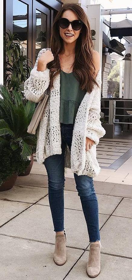 knit cardigan + bag + top + skinny jeans