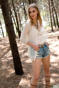 Cotton Mood Kadın Bej Güpürlü Beli Kuşaklı Hırka