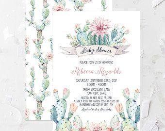 Succulent Baby Shower Invitation Printable Pastel Cactus Baby Shower Invite Southwestern Baby Shower Floral Pink and Aqua Baby Shower 267