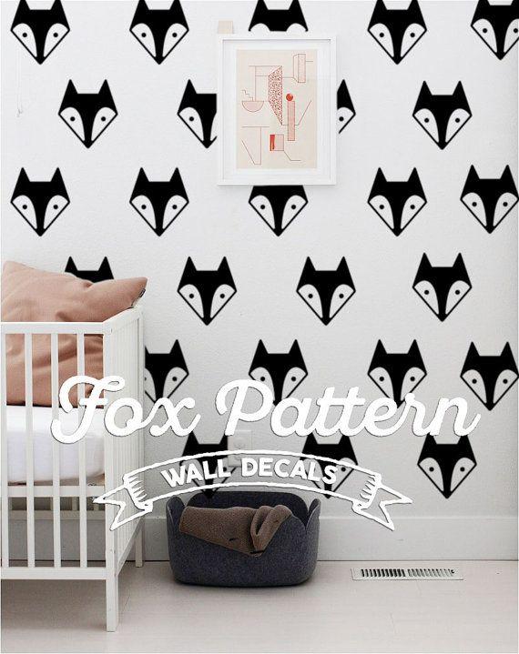 Fox Head Pattern Scandinavian Nursery Wall Decal Set door iinky