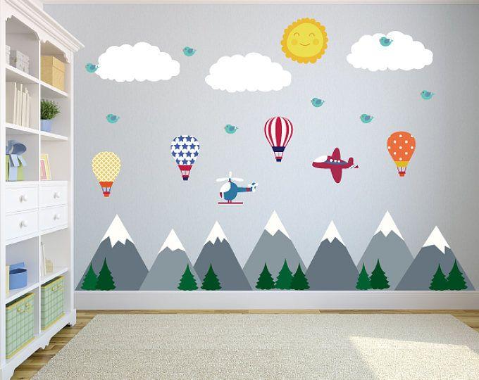 Luxury Berg Wandtattoo mit Hei luftballons Wand Aufkleber Kinderzimmer Kinder Wand Aufkleber