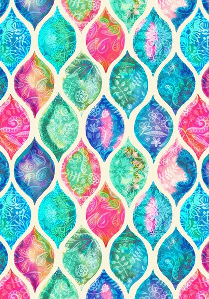 Watercolor Ogee Patchwork Pattern Art Print by Micklyn Le Feuvre