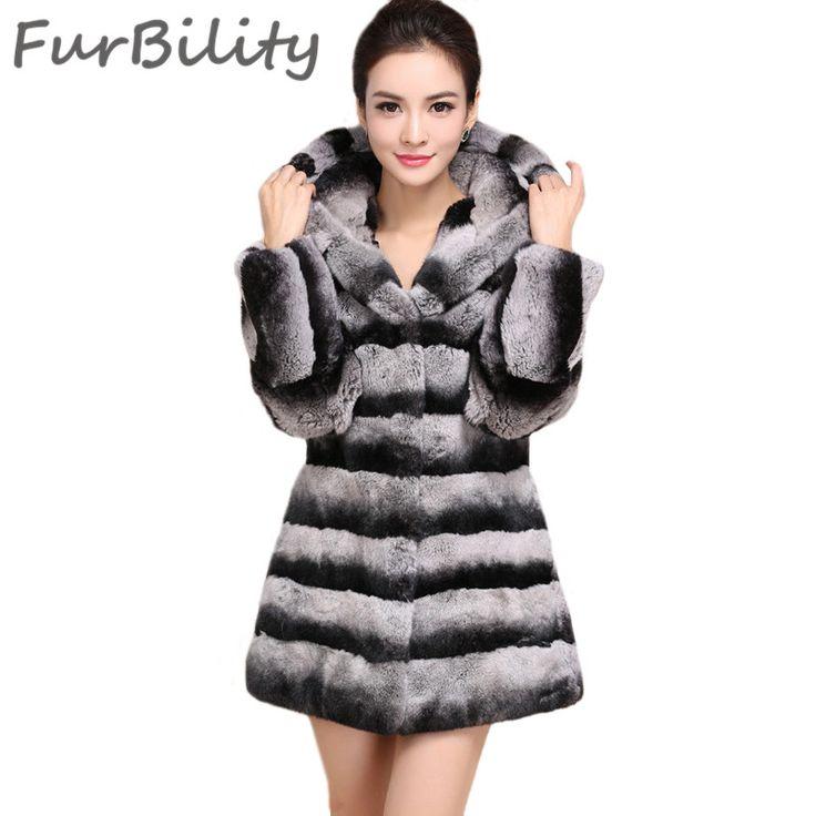 High Quality For Womans Long Chinchilla Rex Rabbit Fur Coats With Hood New Design Hooded Rex Rabbit Fur Coat