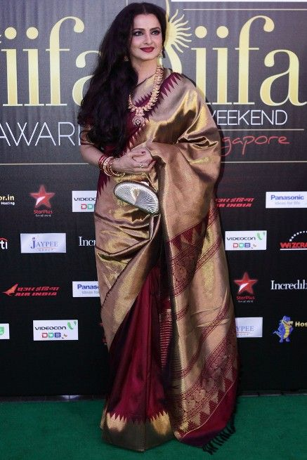 Rekha in Gold+Maroon temple border kanjivaram saree
