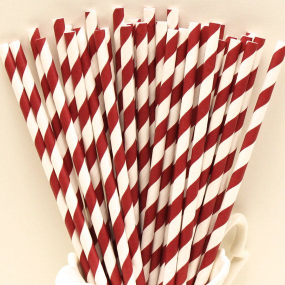 Burgundy Maroon Paper Straws, Party Drink Straws, College, Sorority, Party, Drinks, School Color, Wedding, Birthday, Events, Catering, Retro