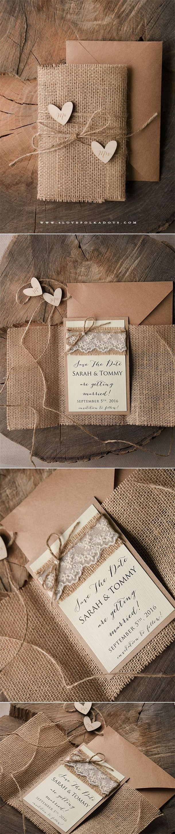Burlap Wedding invitations and Save the Date Card with wooden tags
