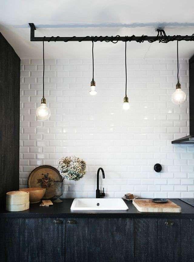 Cucina in stile industriale | Illuminazione seminterrato ...