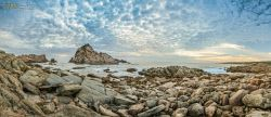 FAR-0007208 © WestPix Dappled cloud formations over the rocks at the beach in Dunsborough, south west WA. Picture: Farhad Mobarra