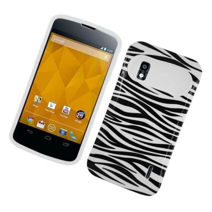 Insten Zebra Night Glow Hard PC/ Silicone Jelly Case Cover For LG Google Nexus 4