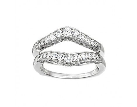 34 ct tw diamond wedding ring guard in 14k white gold wraps - Wedding Ring Wraps