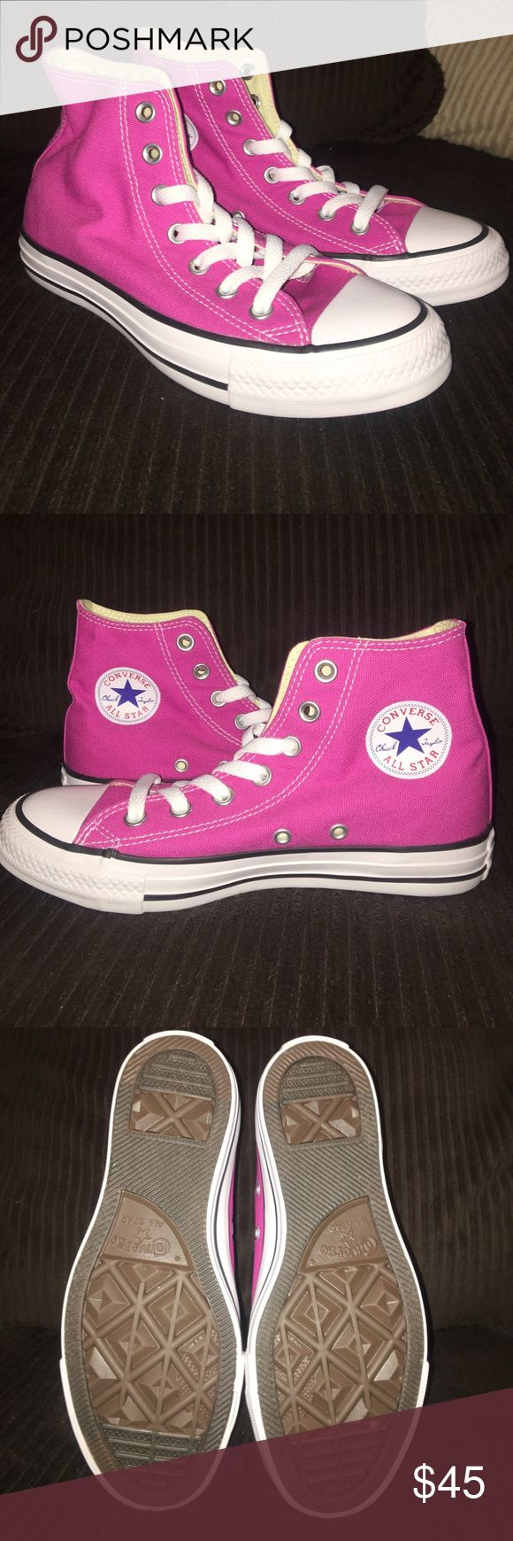 Pink High Top Converse Never worn Converse Shoes Sneakers