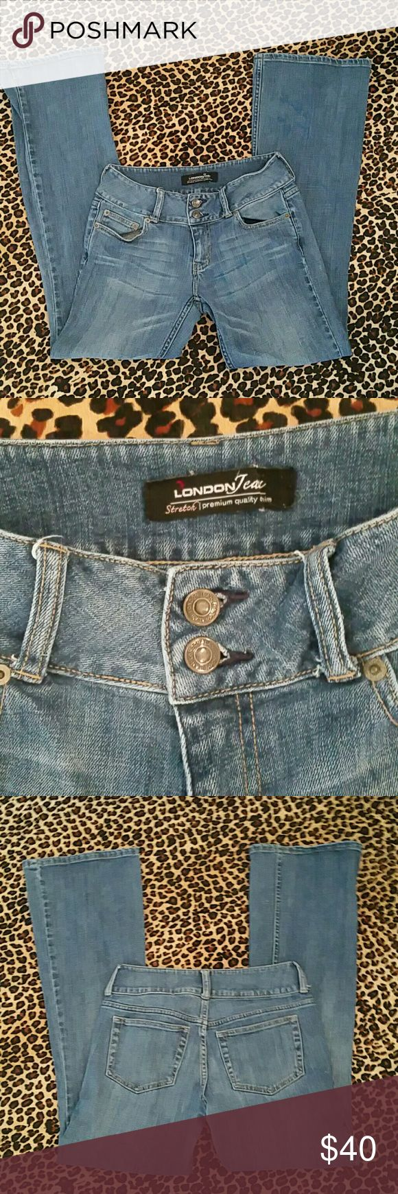 London Jean Stretch Jeans Stretch.  Slight flare.  Double button and zipper front closure.  Belt loops.  Front and back pockets.  London Jeans is a brand of Victoria Secret. London jeans Jeans Flare & Wide Leg
