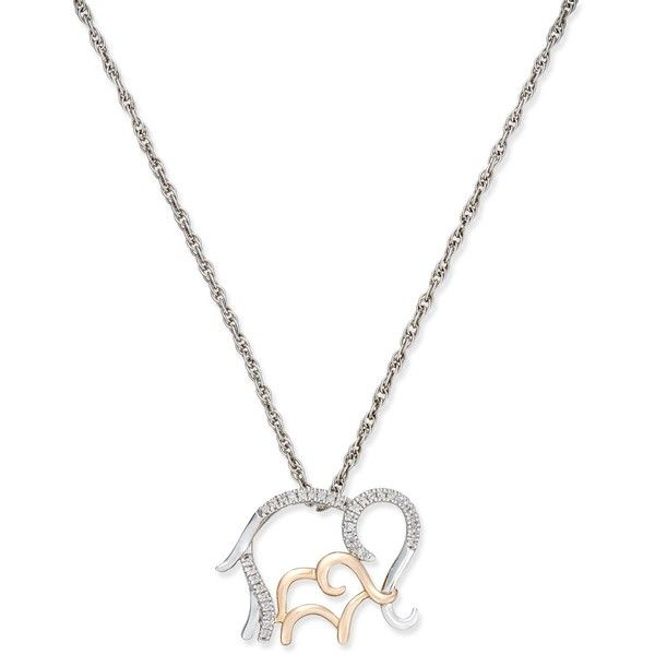 Diamond Mother and Child Elephant Pendant Necklace (1/10 ct. t.w.) in... ($113) ❤ liked on Polyvore featuring jewelry, necklaces, 14k rose gold necklace, round pendant necklace, sterling silver jewelry, diamond jewelry and sterling silver diamond necklace
