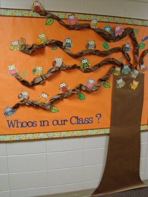 Owl bulletin board idea: Restyle for la Rentree des classes with leaves and pix of kids. Qui est dans notre classe? hallway bulletin board