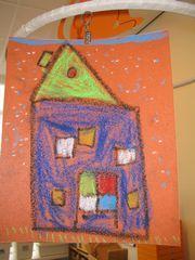 Met wasco een huis tekenen op schuurpapier>Bob de Bouwer