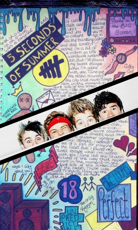 5 Seconds of Summer drawing ... turned into phone background!! :)