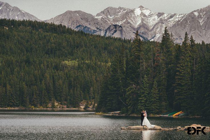 At Pyramid Lake - Environmental Bride & Groom Portrait.