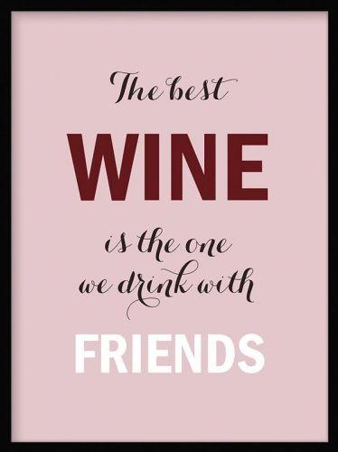 Tavla med vin och text, rosa poster till köket.