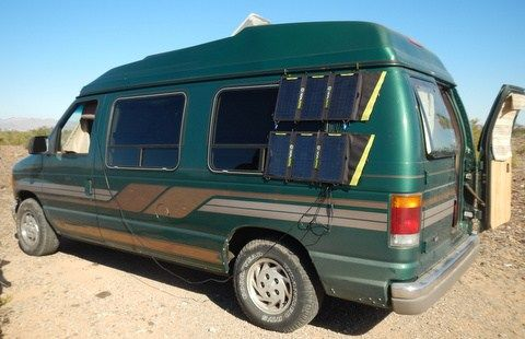 Andrew picked up this very nice high-top conversion van for not very much money and turned into a wonderful home. His electricity comes from a Goal Zero solar kit hanging o the side of the van