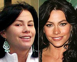 Sophia Vergara without makeup and with makeup. So gorgeous either way.