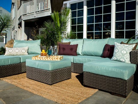 5s outdoor sectional w/ ottoman and chaise in Mediterranean covers #Lovesac