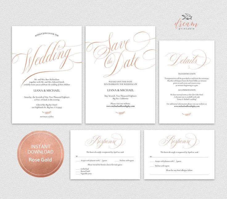 INSTANT DOWNLOAD Editable Pdf Template Set 5x7 Invitation, 4x6 Details, 3.5x5 Reply RSVP, 5x7 Save the date card Wedding Rose Gold #DP240_S1 by DreamPrintable on Etsy #wedding #instant #download #printable #image #graphic #digital #reception_sign #PDF #Template #wedding_ceremony #wedding_sign #Calligraphy #Sign #events #events_design #wedding_printable #wedding_design