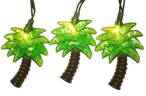 KSA Set of 10 Tropical Green Palm Tree Patio Christmas Lights - Green Wire