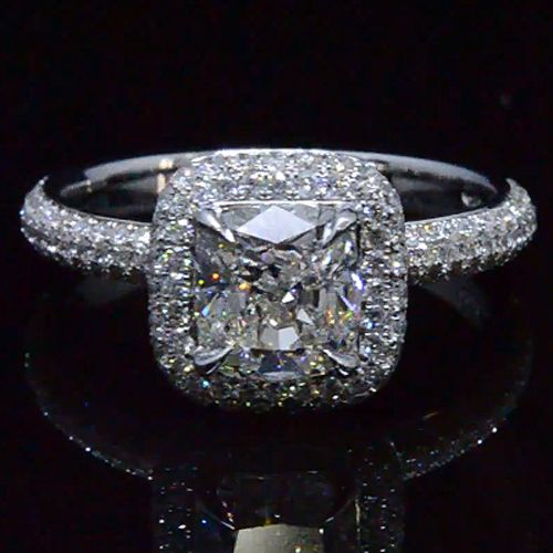 2.24 Ct. Cushion Cut Micro Pave Halo Round Diamond Engagement Ring H, VS2 GIA - Recently Sold Engagement Rings