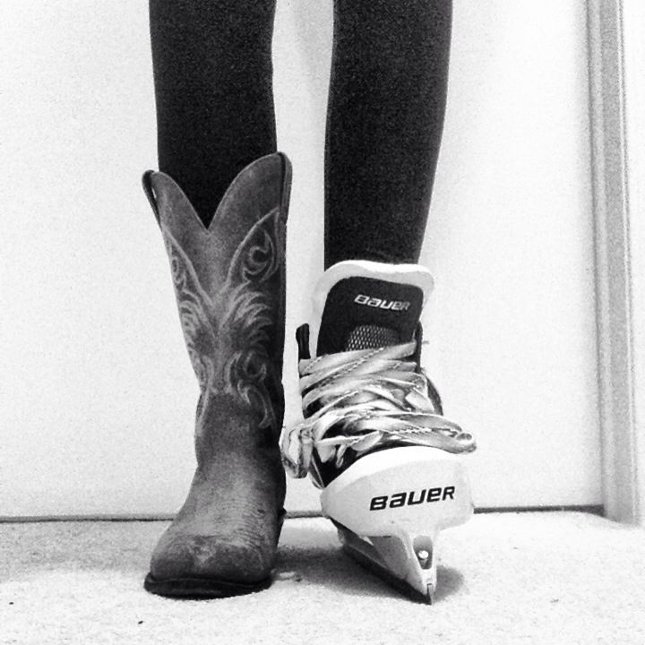 Because I love the hockey skate and heals picture, I decided there should be a goalie skate and cowboy boot picture :)