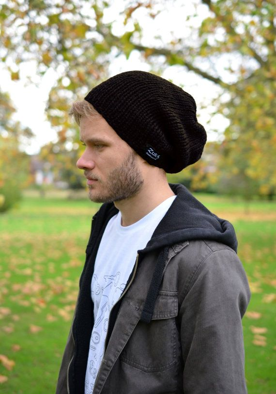 Men's Slouchy Beanie Men's Knitted Hat Mens Slouchy by zukas