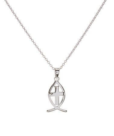 Look at this #zulilyfind! Sterling Silver Ichthys Pendant Necklace #zulilyfinds