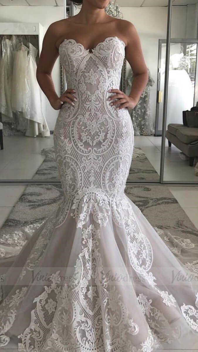Vintage Strapless Turmpet Lace Wedding Dresses With Train Vw1374 Wedding Dresses Lace Wedding Dresses Strapless Mermaid Wedding Dress [ 1200 x 675 Pixel ]