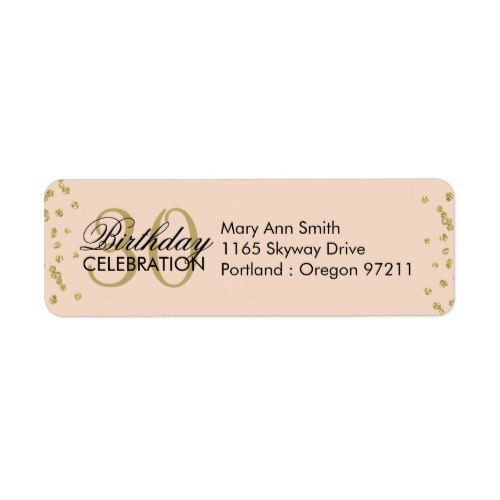 Gold Blush Pink 30th Birthday Glitter Confetti Label