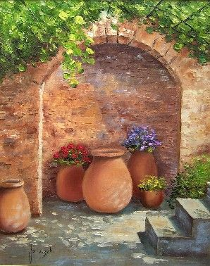Archway over clay pots - by Jean-Marc Janiaczyk