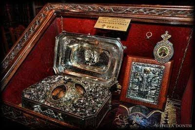 The miraculous Holy Skull and Right Foot of St. Anastasia the Great Martyr
