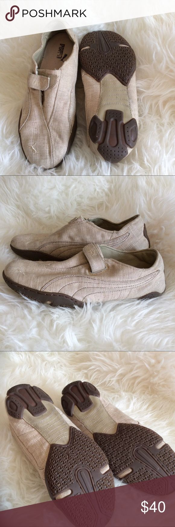Women's Sz 10 Pumas linen velcro hipster Fawking awesome size 10 Puma (mostro ?) linen Velcro shoes. Very GUC stylish and comfy hipster cozy casual Puma Shoes Athletic Shoes
