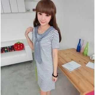 Buy '59 Seconds – Striped T-Shirt Dress with Hooded Scarf' with Free Shipping at YesStyle.co.uk. Browse and shop for thousands of Asian fashion items from Hong Kong and more!