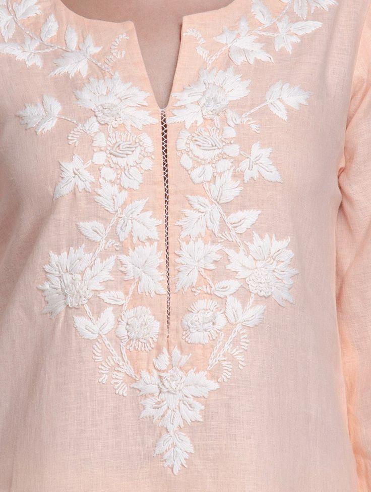 Buy Peach Floral Embroidered Linen Kurta Women Kurtas Roots Hand Cotton Apparel Online at Jaypore.com