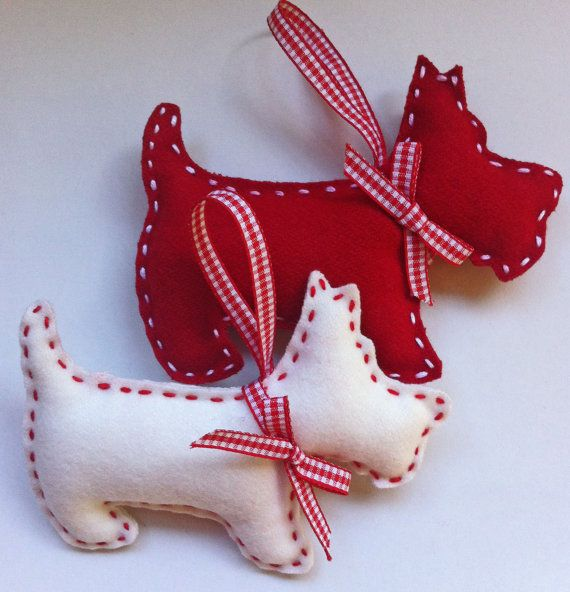 Scottie Dog  Christmas Felt Ornament set of 2 por marilous en Etsy, €7.00