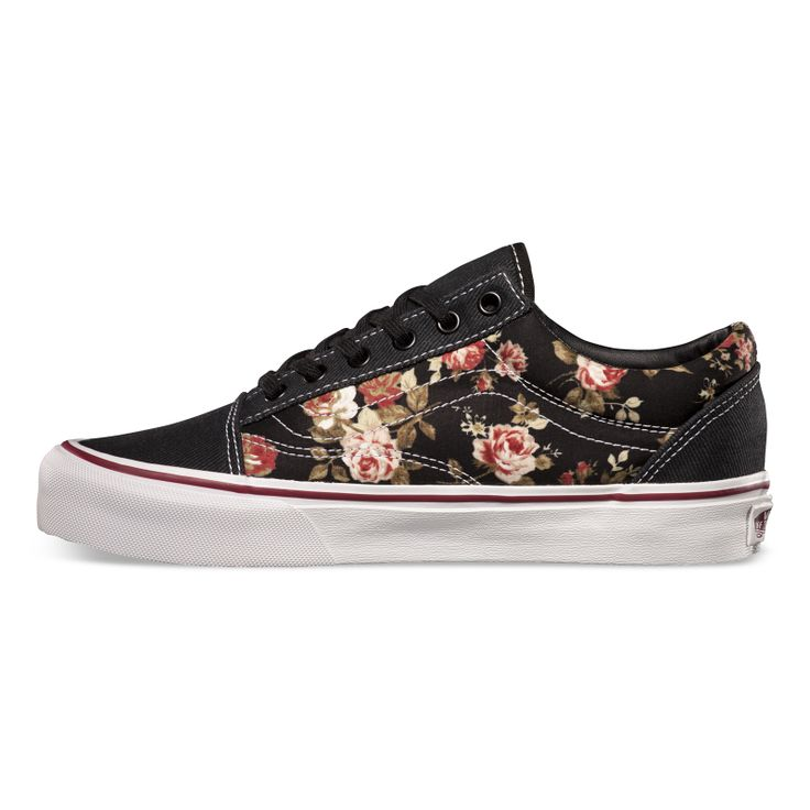 Floral Old School Vans Shoes Pinterest