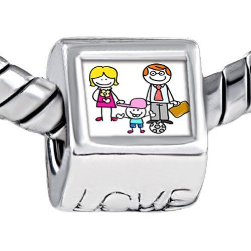 Pugster Whole Family Parents Son Photo Engraved Love European Beads Fits Pandora Charm Bracelet Pugster. $12.49. Size (mm): 7.60*9.10*10.10. Weight (gram): 4.20. Color: Colorful. Metal: Metal
