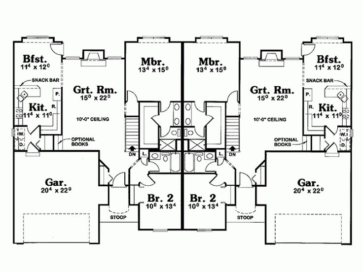 Eplans Cottage House Plan Classic Duplex Layout 2688